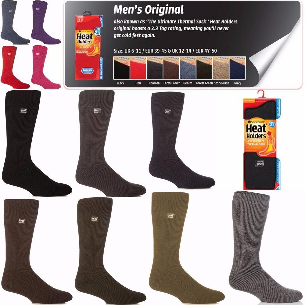 Mens Bigfoot Original Thermal Heat Holders Socks 13-15 Us Red