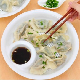 Dumplings double layer Drain Dish with Sauce Tray