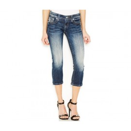 Miss Me Contrast-Stitch Cropped Jeans