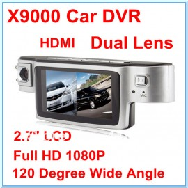X9000 HD Car DVR Blackbox Dual Lens Camera