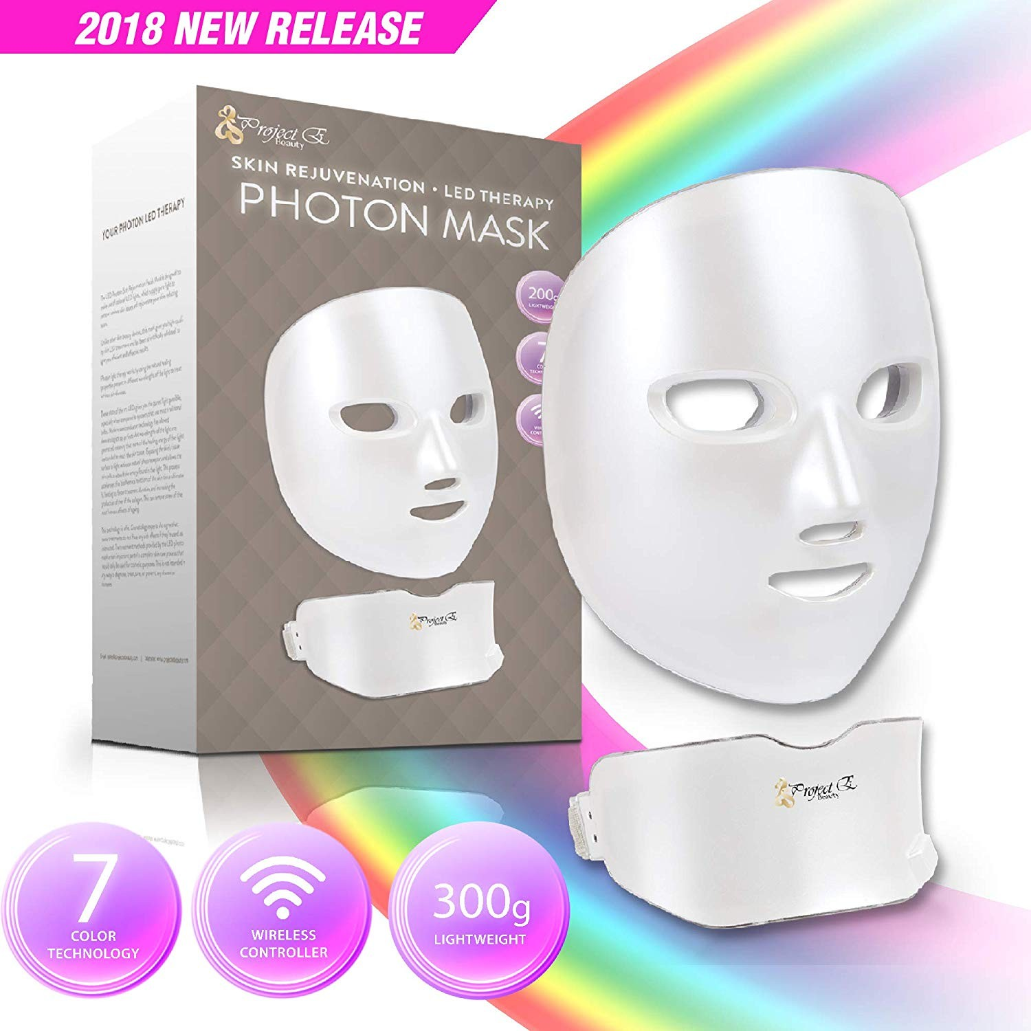 Project E Beauty Wireless Facial And Neck Led Photon Mask