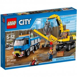 Lego demolition Excavator and Truck