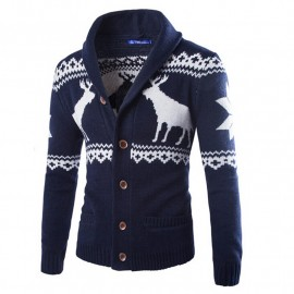 Mens Deer Coat Knit Cardigan Sweater