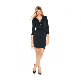 Michael Kors Lace-Up Belted Shirtdress